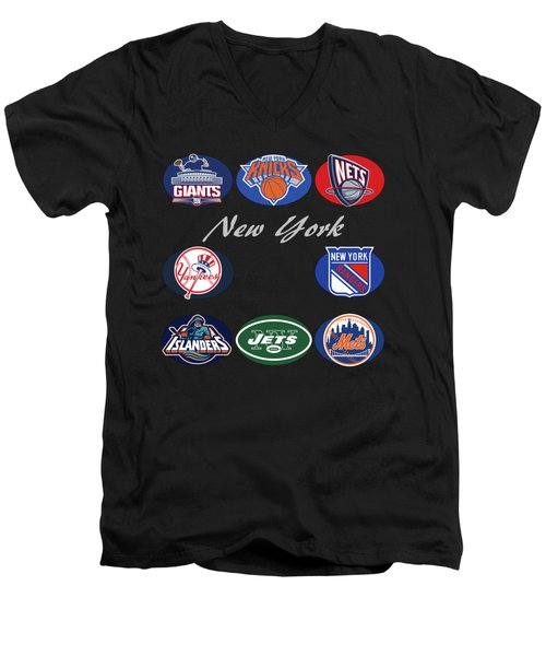 New York Professional Sport Teams Collage  Men's V-Neck T-Shirt by Movie Poster Prints