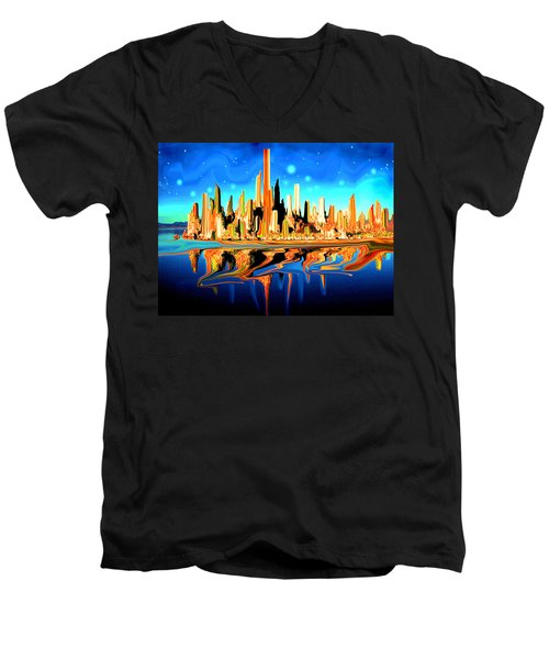 New York Skyline In Blue Orange - Modern Fantasy Art Men's V-Neck T-Shirt