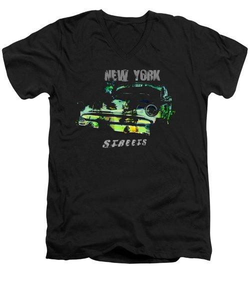 New York Streets Men's V-Neck T-Shirt by Kim Gauge