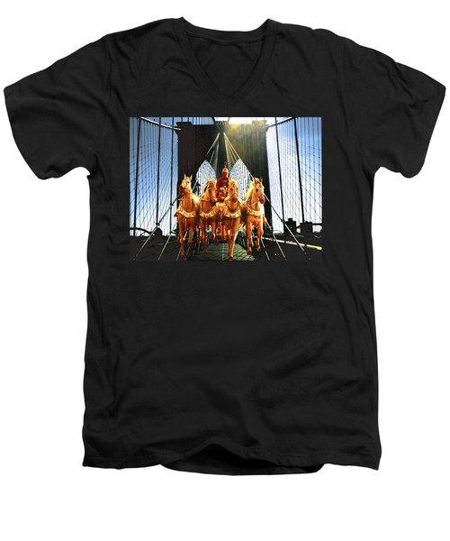 New York Brooklyn Bridge Fantasy Collage Men's V-Neck T-Shirt
