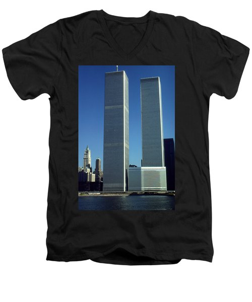 New York World Trade Center Before 911 - Architecture Men's V-Neck T-Shirt by Art America Gallery Peter Potter