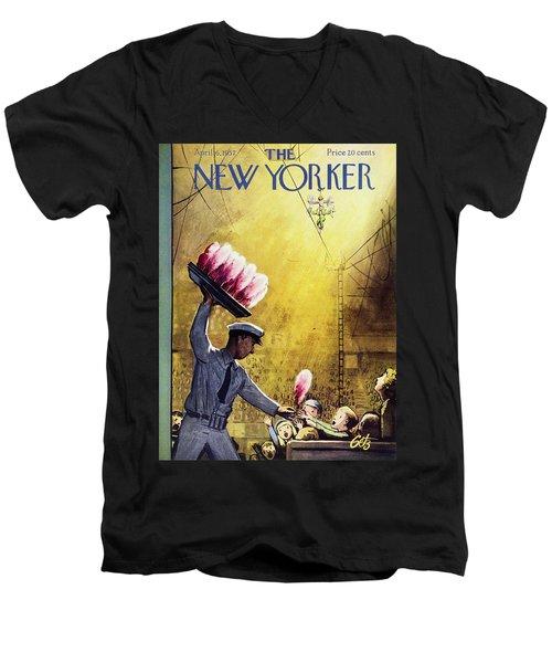 New Yorker April 6 1957 Men's V-Neck T-Shirt