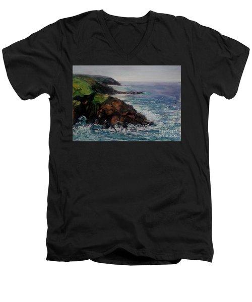 Newlyn Cliffs 2 Men's V-Neck T-Shirt by Genevieve Brown