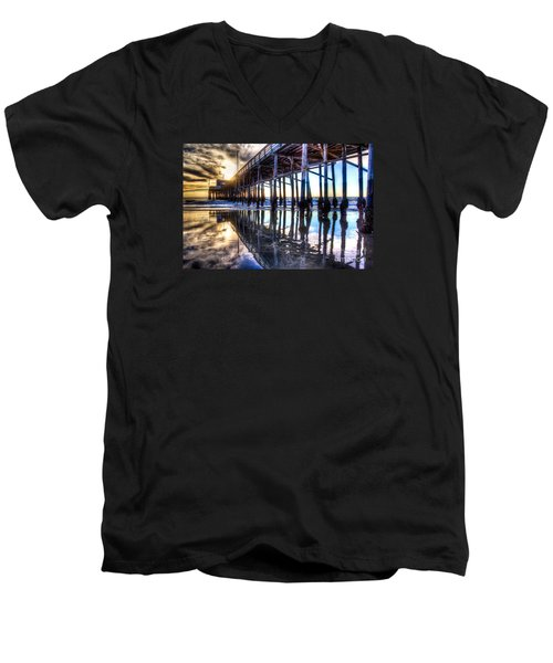 Newport Beach Pier - Reflections Men's V-Neck T-Shirt by Jim Carrell