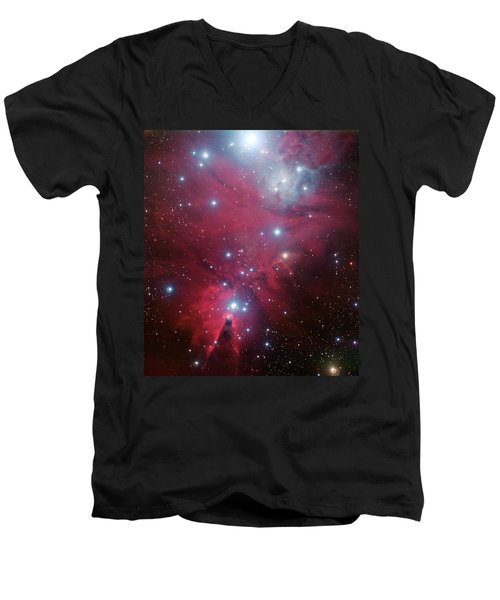 Men's V-Neck T-Shirt featuring the photograph Ngc 2264 And The Christmas Tree Star Cluster by Eso