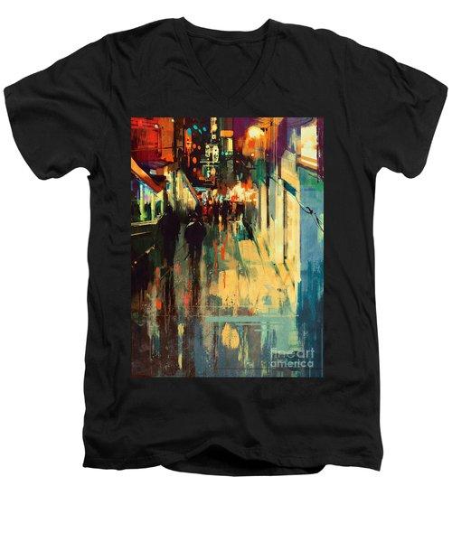 Night Alleyway Men's V-Neck T-Shirt