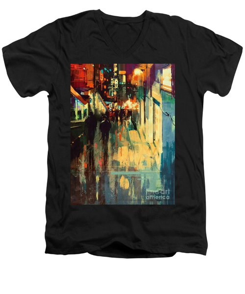 Night Alleyway Men's V-Neck T-Shirt