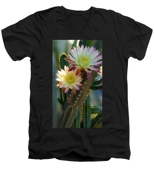 Men's V-Neck T-Shirt featuring the photograph Night-blooming Cereus 4 by Marilyn Smith