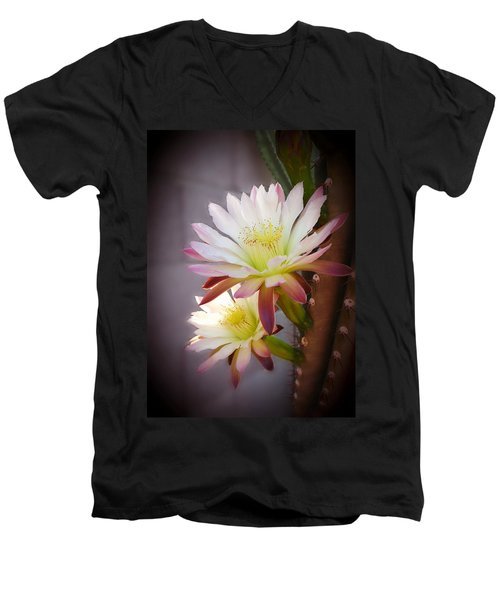 Men's V-Neck T-Shirt featuring the photograph Night Blooming Cereus by Marilyn Smith