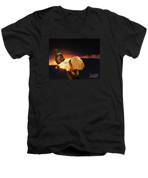 Men's V-Neck T-Shirt featuring the photograph Night Fall by Donna Brown
