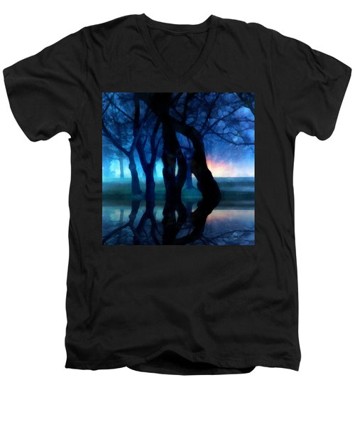 Night Fog In A City Park Men's V-Neck T-Shirt