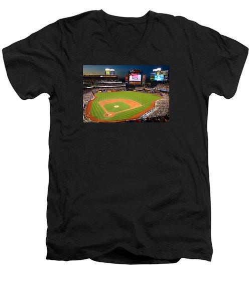 Night Game At Citi Field Men's V-Neck T-Shirt by James Kirkikis