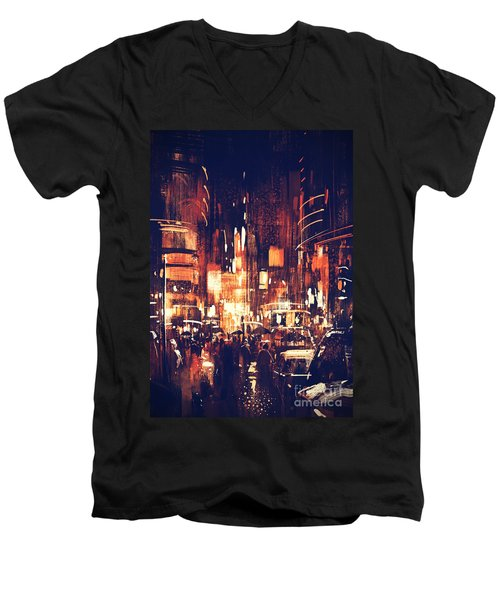 Night Life Men's V-Neck T-Shirt
