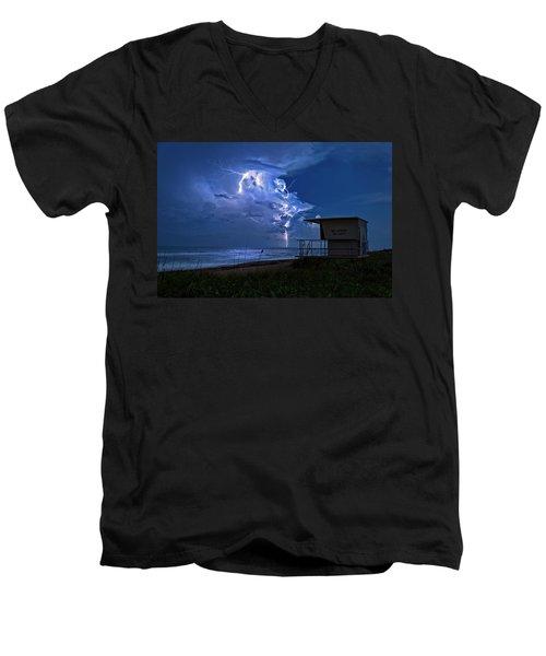 Night Lightning Under Full Moon Over Hobe Sound Beach, Florida Men's V-Neck T-Shirt by Justin Kelefas