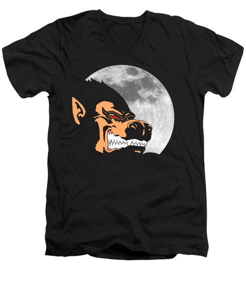 Night Monkey Men's V-Neck T-Shirt by Danilo Caro