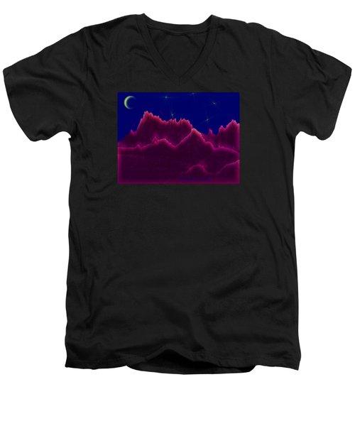 Men's V-Neck T-Shirt featuring the digital art Night. Moon by Dr Loifer Vladimir