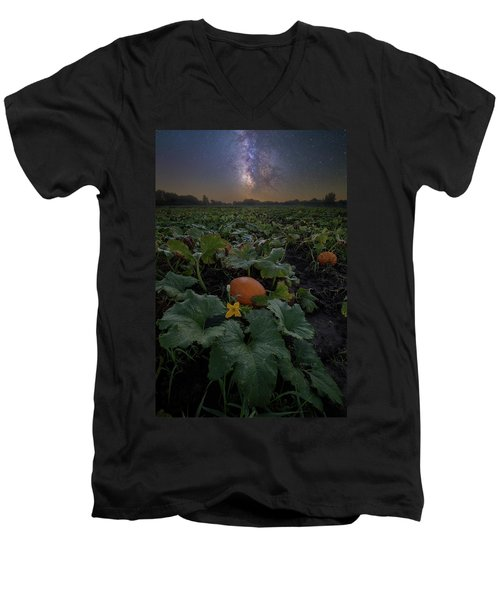 Men's V-Neck T-Shirt featuring the photograph Night Of The Pumpkin by Aaron J Groen