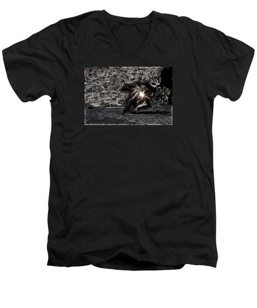Night Rider Men's V-Neck T-Shirt by Maciek Froncisz