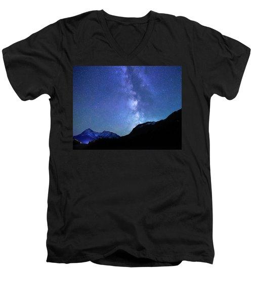 Night Sky In David Thomson Country Men's V-Neck T-Shirt by Dan Jurak