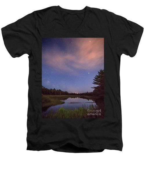 Night Sky Over Maine Men's V-Neck T-Shirt