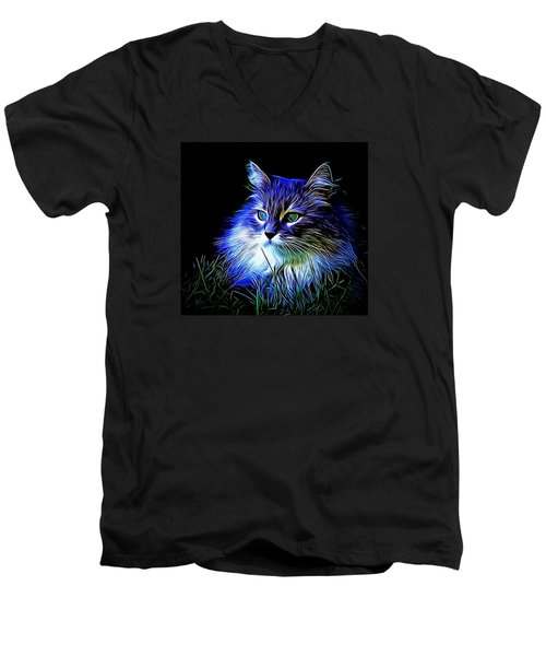 Men's V-Neck T-Shirt featuring the photograph Night Stalker by Kathy Kelly