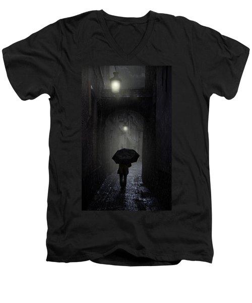 Night Walk In The Rain Men's V-Neck T-Shirt