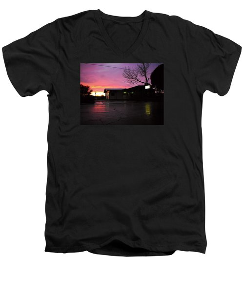 Men's V-Neck T-Shirt featuring the photograph Nightfall by Adria Trail