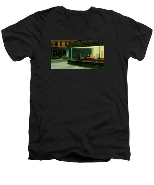 Nighthawks Men's V-Neck T-Shirt by Sean McDunn
