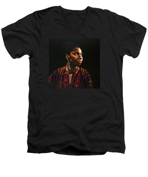 Nina Simone Painting Men's V-Neck T-Shirt by Paul Meijering