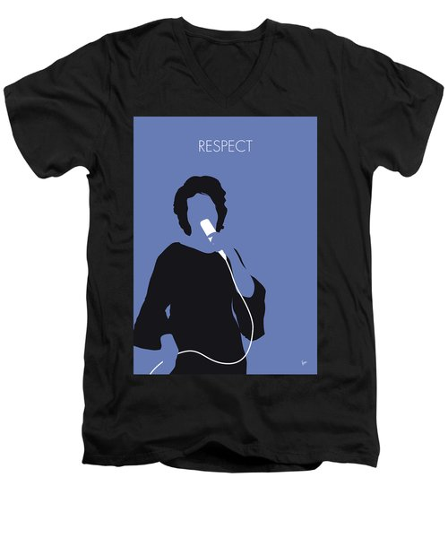 No188 My Aretha Franklin Minimal Music Poster Men's V-Neck T-Shirt
