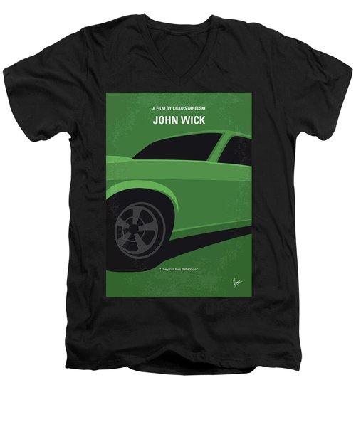 Men's V-Neck T-Shirt featuring the digital art No759 My John Wick Minimal Movie Poster by Chungkong Art