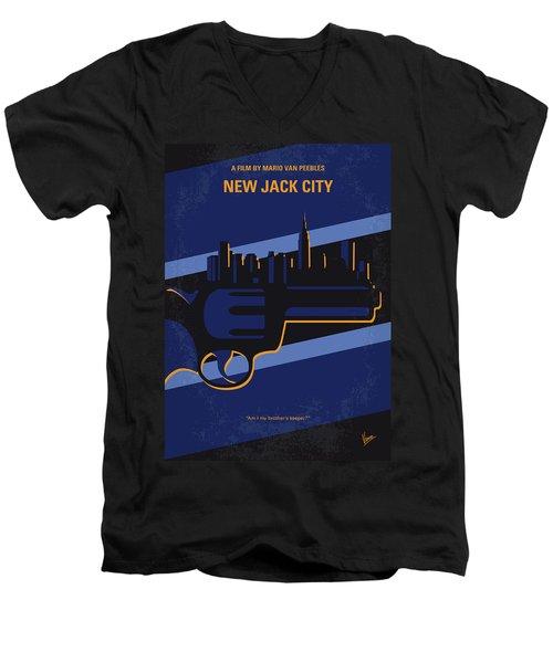 Men's V-Neck T-Shirt featuring the digital art No762 My New Jack City Minimal Movie Poster by Chungkong Art