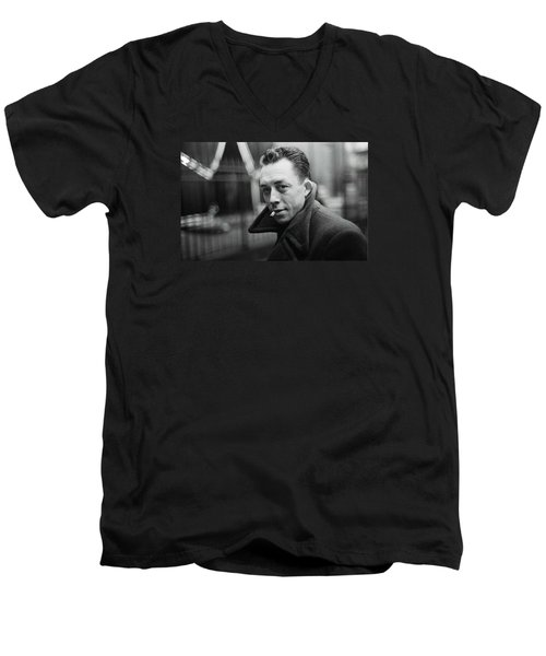 Nobel Prize Winning Writer Albert Camus  Unknown Date-2015           Men's V-Neck T-Shirt by David Lee Guss