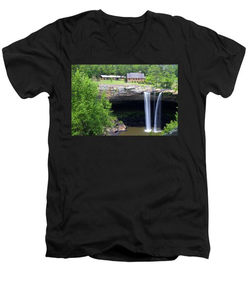 Noccolula Falls Gadsden Alabama Men's V-Neck T-Shirt by Kathy Clark