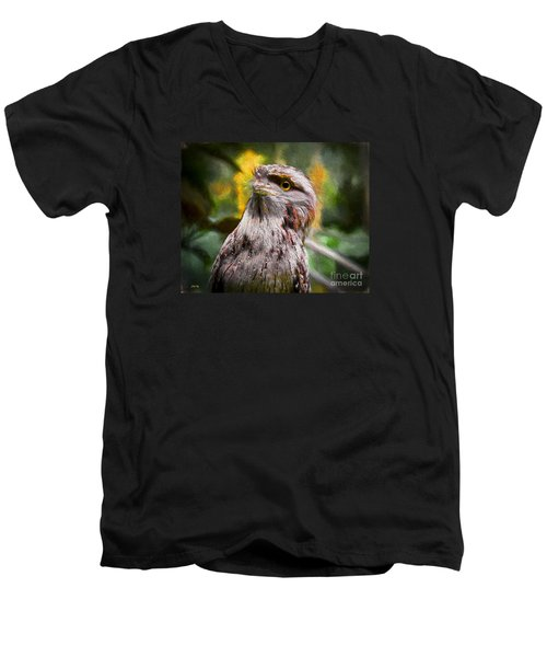 Men's V-Neck T-Shirt featuring the painting Nocturnal Beauty by Judy Kay