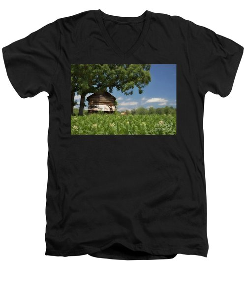 Men's V-Neck T-Shirt featuring the photograph North Carolina Tobacco by Benanne Stiens