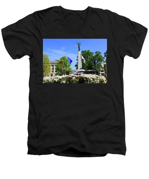 North Carolina Veterans Monument Men's V-Neck T-Shirt