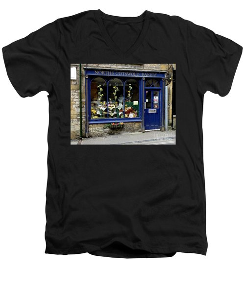 North Cotswold Bakery Men's V-Neck T-Shirt by Lainie Wrightson