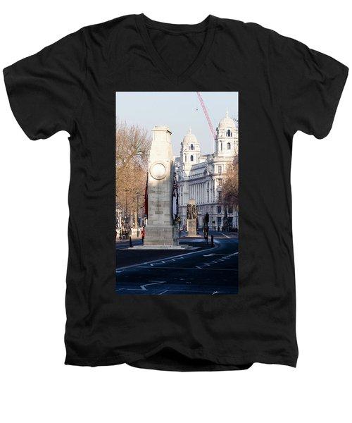 North Facade Of Cenotaph War Memorial Whitehall London Men's V-Neck T-Shirt