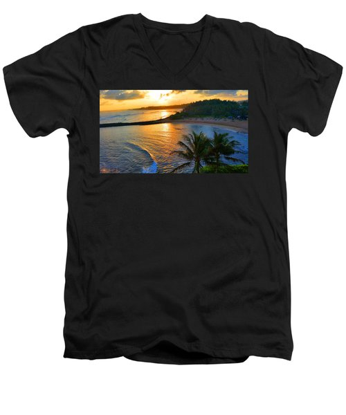 North Shore Of Oahu  Men's V-Neck T-Shirt by Michael Rucker