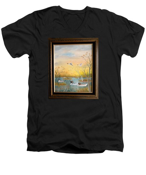 Northen Pintails Men's V-Neck T-Shirt by Al  Johannessen