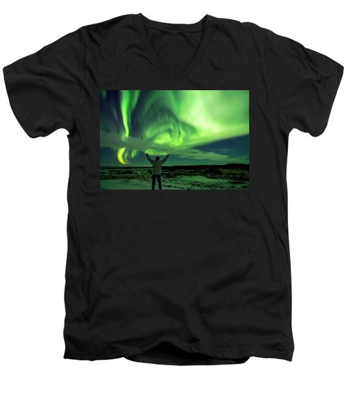 Northern Light In Western Iceland Men's V-Neck T-Shirt by Dubi Roman