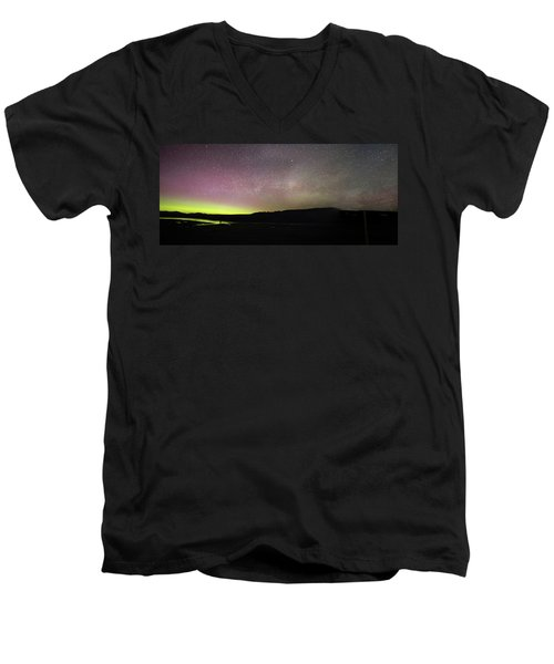 Northern Lights And Milky Way In Yellowstone Np Men's V-Neck T-Shirt