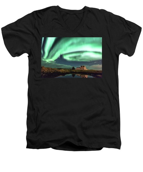 Men's V-Neck T-Shirt featuring the photograph Northern Lights by Frodi Brinks
