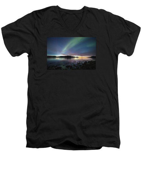 Northern Lights Meet Sunset Men's V-Neck T-Shirt