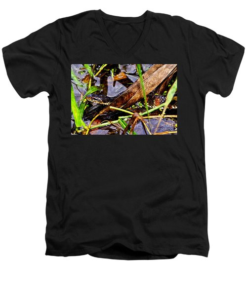 Men's V-Neck T-Shirt featuring the mixed media Northern Water Snake by Olga Hamilton