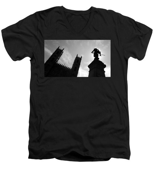 Men's V-Neck T-Shirt featuring the photograph Notre Dame Silhouette by Valentino Visentini