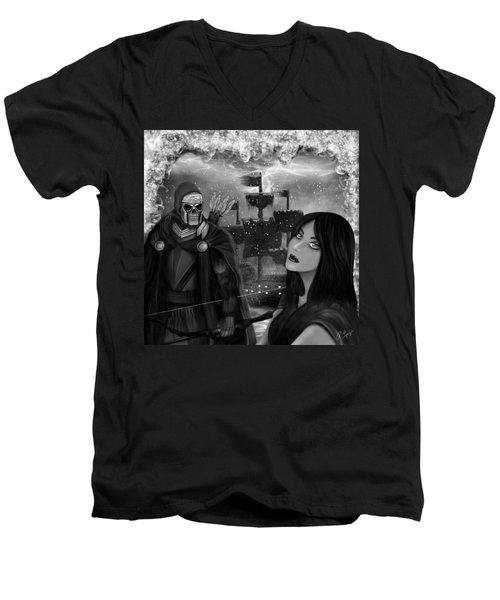 Now Or Never - Black And White Fantasy Art Men's V-Neck T-Shirt