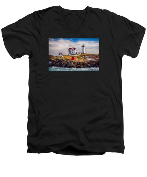 Nubble In Winter Men's V-Neck T-Shirt by Tricia Marchlik