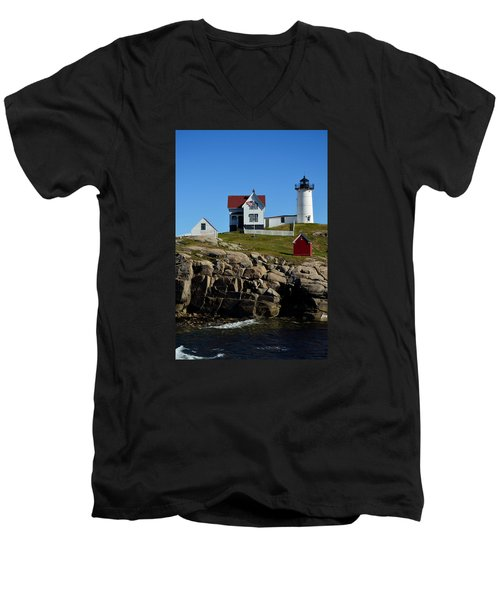 Nubble Lighthouse 2 Men's V-Neck T-Shirt by Richard Ortolano